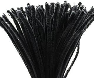 Caryko Super Fuzzy Chenille Stems Pipe Cleaners, Pack of 100 (Black)