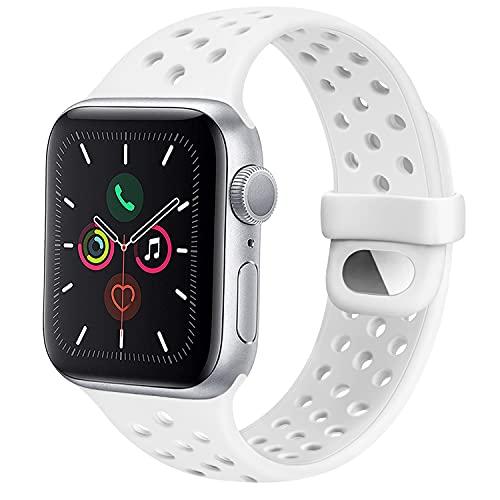 CTZL Correa Compatible con Apple Watch 44mm 42mm 40mm 38mm, Pulseras de Repuesto de Silicona Suave para iWatch Series SE 6 5 4 3 2 1 Mujer Hombre (38mm/40mm M/L, Blanco)