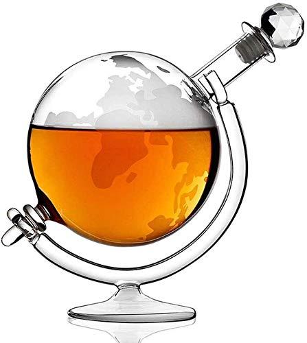 SOAR Botellero Globo Grande Decantador 1000ml Mapa De Vidrio Mapa Globo Whisky Decanter Vino Jarra De Vino En Cuna Mano Soplado Vidrio Grabado Vidrio Decantador para Tequila Alcohol Ideas