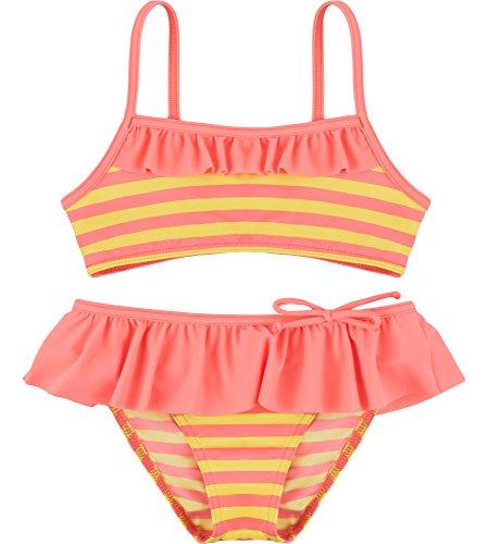 Merry Style Conjunto Bikini Trajes de Baño 2 Piezas Niña MSVRKind3 (Amarillo/Salmón, 3-4 Años)