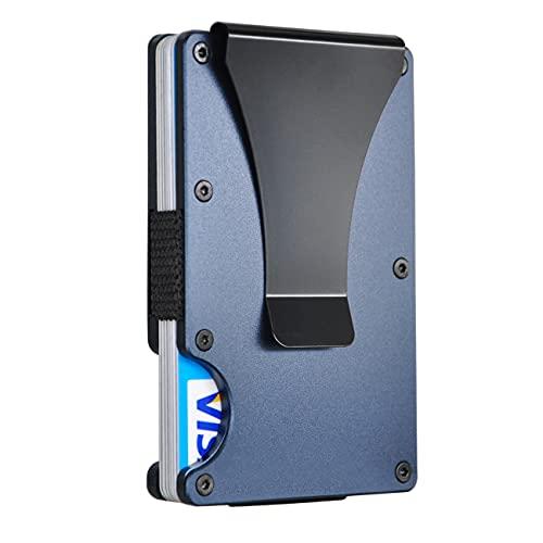 RFID Slim Minimalist Metal Wallet with Money Clip - Aluminum Credit Card Holder Wallet Organizer for Men Women (1-Navy)