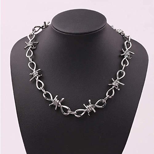 ZHIRCEKE Collar Collar Collar Alambre Brambles Collar Mujer Hip-Hop Punk Style Barbed Wire Brambles Link Chain Choker Regalos para Amigos