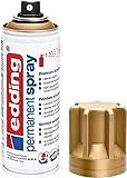 Edding 5200 spray permanente - oro rico mate - 200 ml - pintura acrílica para pintar y decorar vidrio, metal, madera, cerámica, plástico, lienzo - aerosol, spray acrílico, spray de pintura