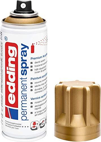 edding 5200 Permanent-Spray - reich-gold matt - 200 ml - Acryllack zum Lackieren und Dekorieren von Glas, Metall, Holz, Keramik, lackierb. Kunststoff, Leinwand, u. v. m....