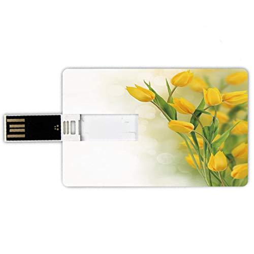 8GB Chiavette USB a forma di carta di credito Fiore giallo Memory Card stile carta di credito Tulip Bouquet Romantic Famous Plant del tema botanico olandese decorativo,senape Fern Green Penna impermea