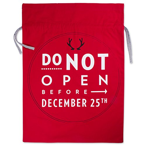 DII Cotton Santa Claus Christmas Gift Sack Bag, 39x29, Perfect for Christmas, Party, Housewarming, Birthday, Home Storage, Gift...