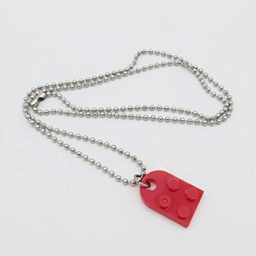 SHIYONG Brick Heart Pendant Necklace for Friend Couple Gift Detachable Heart-shaped Building Block Pendant Jewelry