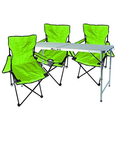 Mojawo - Nexos Trading - Juego de muebles de camping (aluminio, 120 x 60 x 58/70 cm, 1 mesa de camping XXL, altura regulable, con asa y 3 sillas de pescado)