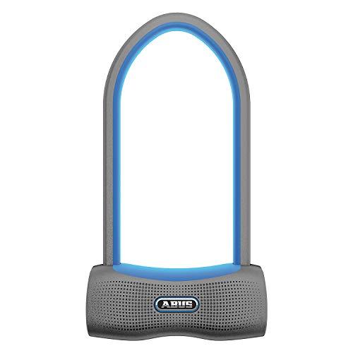 ABUS Bügelschloss 770A SmartX Fahrradschloss mit Bluetooth und Alarm (100db) - Smartphone iOS & Android - Sicherheitslevel 15 - mit Halterung - blau - 84521