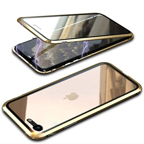 Funda Cristal Templado para iPhone SE 2020/iPhone 8/7 [Vidrio de Doble Cara][Adsorción magnética][Marco de...