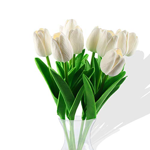 Flores de tulipán Artificiales,10 Piezas Real Touch Artificial Látex Tulipanes Flores Tulipanes Falsos Flores Ramos de Boda Flor Tulipán para Boda Hogar Jardín Decoración (Blanco)