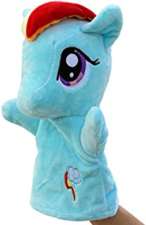 WYBL Mi Pequeño Pony 27Cm Mano Puppet Juguete De Felpa Suave Short Felpa Rainbow Dash Apple Jack Rarity Pinkie Pie Juguetes De Felpa para Regalo Azul
