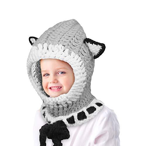 Richoose Winter-warme Coif Haube Schal-Kappen-Hut Earflap Fox gestrickte Wolleschal-Kappen-Hüte für Baby-Kinder Mädchen-Jungen, Grau - 2