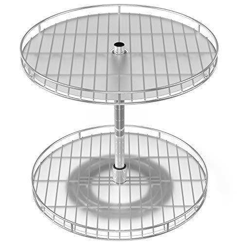Estantería grande de 2 niveles Lazy Susan para cocina de 33 cm, altura ajustable para mesa giratoria de especias, organizador y...