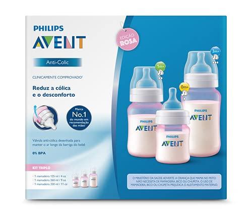 Kit Avent Classic+ 3 Mamadeiras Rosa 125, 260, 330ml Philips Avent