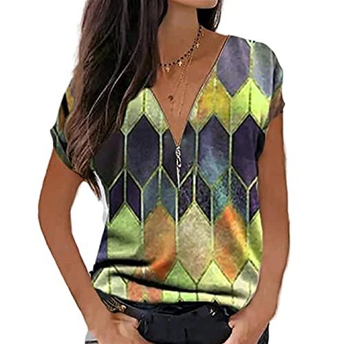 Elesoon Camiseta de verano para mujer, talla grande, geométrica, bohemio, étnico, estampado a cuadros, manga corta, suelta, con cuello en V, A-amarillo, 50
