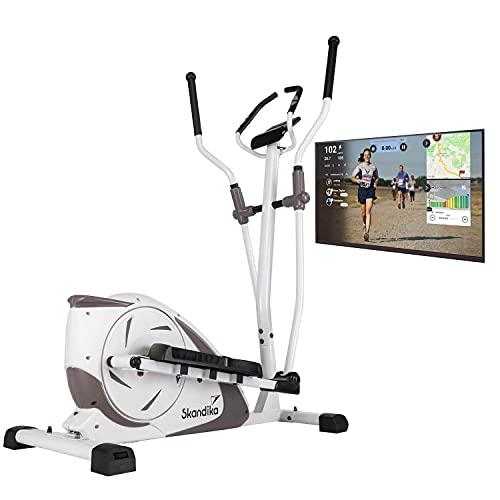 skandika Crosstrainer Fint | Heimtrainer mit Bluetooth, App-Steuerung (Kinomap), Handpulssensoren | 9kg Schwungmasse, 24 Widerstandsstufen, 19 Programme, Magnetbremssystem