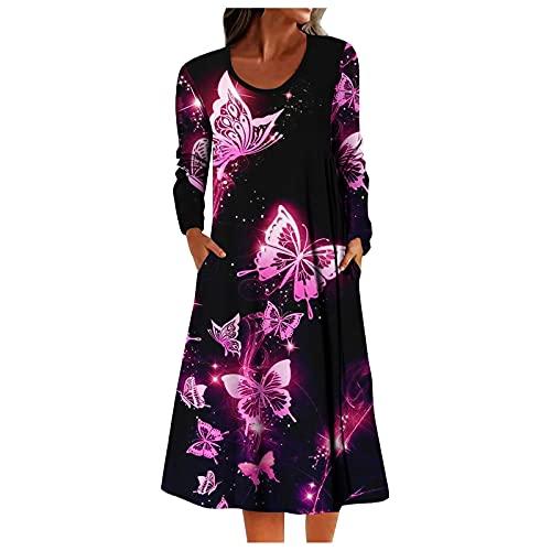 Vestido De Verano con Estampado De Leopardo Y Mariposa Floral para Mujer, Vestido Bohemio De Manga Larga con Cuello Redondo,Vestido De Verano,Vestidos Largos,Vestido De Fiesta,Vestido Vestidos