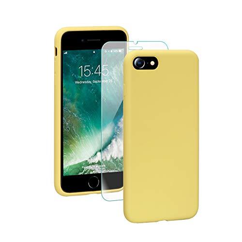 SmartDevil Funda Adecuada para iPhone SE 2020/8/7 +Protector de Pantalla, [Totalmente Protectora] Funda de Gel de Silicona líquida Funda,Microfibra Suave Cojín para iPhone SE 2020/8/7-Amarillo