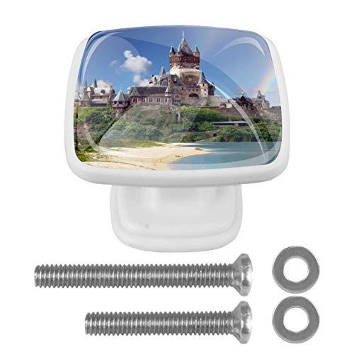 [4 piezas] pomos de cristal para aparador, pomos de cajón, tiradores de gabinete para el hogar, cocina, armario, armario, castillo, paisaje playa
