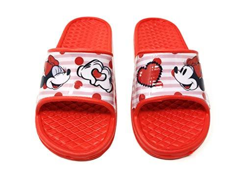 Minnie Mouse - Badelatschen Sommer Hausschuhe Kinder Pantoletten Duschschuhe Badeschuhe rutschfeste Sandalen Pantoffeln Schlappen Slide Slippers Schuhe R (30/31 EU)