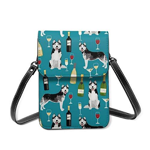 Bolso de hombro pequeño, Husky vino cócteles, raza de perro, color verde azulado, bolsa cruzada para teléfono celular, cartera ligera para mujeres y niñas