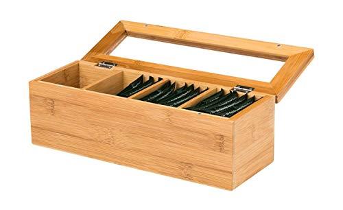 Teebox Bambus 4 Fächer holz-farben Aufbewahrungsbehälter für Tee Vorratsbox