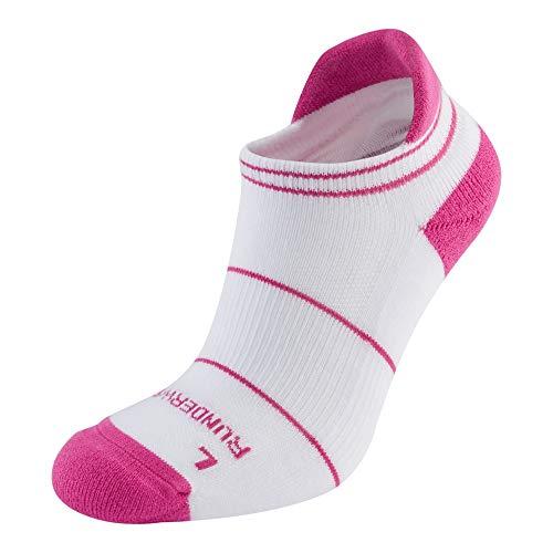 Runderwear Anti-Blister Running Socks - Low - Double-Layered, Performance Running Socks… (White/Pink, Medium)