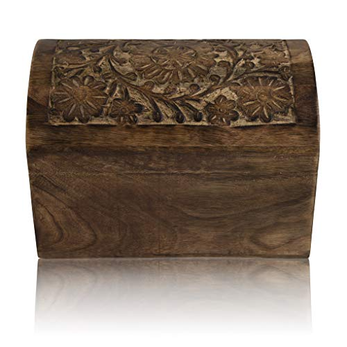 Global Village Bazaar - Joyero decorativo hecho a mano de madera con caja para joyas, organizador de joyas, caja de recuerdos, caja de recuerdos, caja de candado, caja de 9 x 6 pulgadas