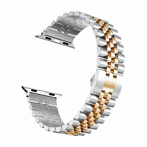 DALIANMAO Correa de Acero Inoxidable de la Banda de Reloj para 40 mm 44mm Metal 38 mm 42 mm Banda de Pulsera de reemplazo (Band Color : Silver Rosegold, Band Width : 38mm or 40mm)
