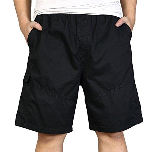 Heheja Pantaloncini da Uomo Bermuda Cargo Militari Shorts Pantaloni Tasconi con Elastico Nero 3XL