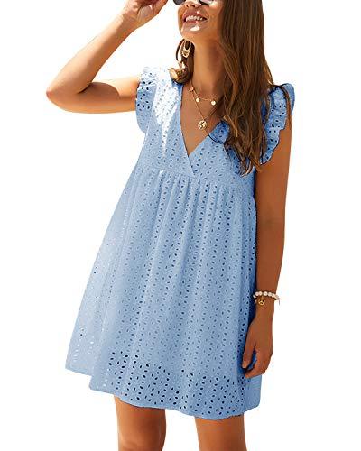 YOINS Sommerkleid Damen V-Ausschnitt Kurzarm Rüschen Tunika Kleid Kurze Mini Freizeitkleid Lässige Kleider A-Line Hellblau S