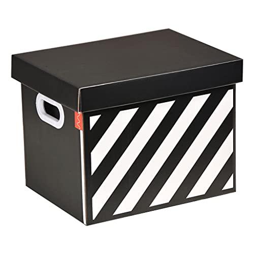 MKVRS Caja de almacenamiento cuadrada con tapa, libro de regalo, bocadillos, cajuela de coche, caja de almacenamiento gruesa corrugada impermeable (color negro, tamaño: grande)