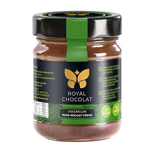Royal Chocolat Nuss-Nougat-Creme | Vegan | 50% Haselnüsse | Premium Brotaufstrich | Gelatinfrei | Glutenfrei | Lactosefrei | ohne Zusatz von Ölen