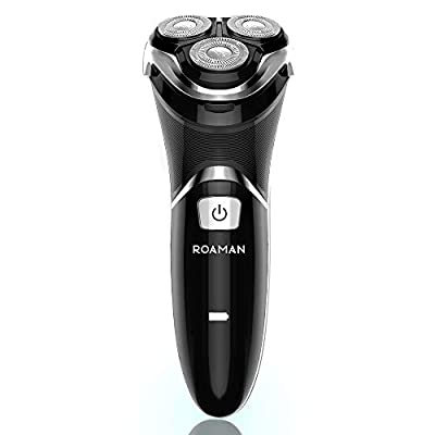 Electric Shaver for Men, Rechargeable Wet & Dry Waterproof Cordless Electric Razor 3D Rotary Shavers with Pop-up Trimmer for Travel and Gifts, LCD Display, Black