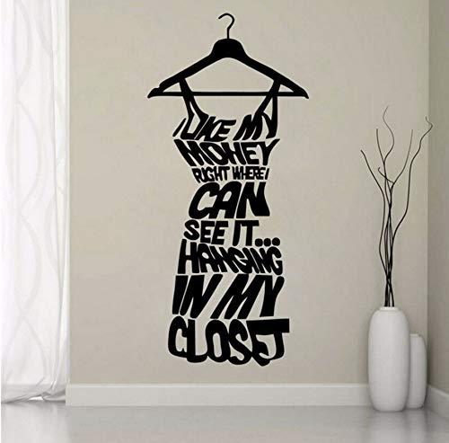 Zybnb liefde mijn geld rechts waar kan zien het hangen in mijn garderobe citaat muur Sticker jurk vorm Vinyl Sticker meisjes kamer Decor