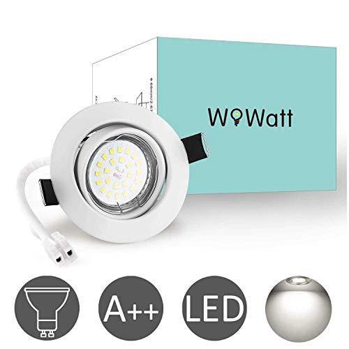 Wowatt 10 x Ojos de Buey de Led Blanco Frio 6000k Foco Empotrable Led Techo 6w Equivalente a Incandescente 50W Incluye GU10 Bombilla 83Ra 600Lm Ángulo de visión 120°Marco Redondo Ángulo Rotable 40°