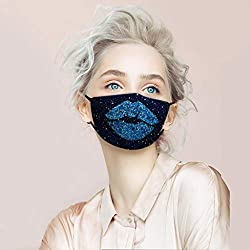 Sequin Protect Face Mask Cloth with Blue Lips Rhinestone