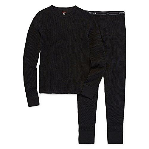 Hanes - Boy's X-Temp Classic Thermal Underwear Set, Black 41074-X-Small