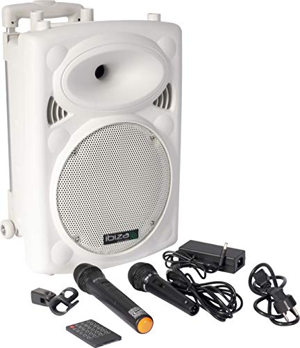 Ibiza Port10VHF-BT-WH Impianto audio portatile cassa attiva (500 Watt, ingressi USB SD MP3, 2 microfoni, cuffie, batteria integrata, telecomando) - bianco