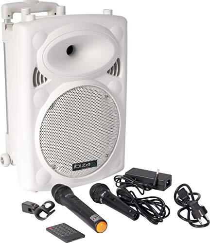 Ibiza 15-6035 Mobile Beschallungsanlage 20 cm (8 Zoll) mit USB-MP3, BT, Rec, VOX, 1 VHF und 1 Handmikrofon