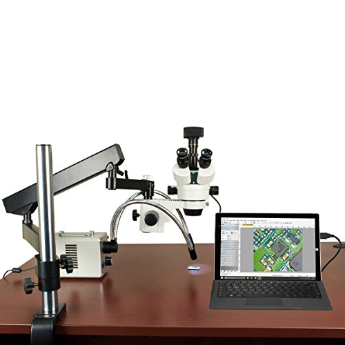 OMAX 2.1X-225X 5MP USB3.0 Digital Stereo Microscope on Articulating Arm+30W LED Ring & Dual Lights