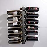 AERVEAL Estante para Vinos Soporte para Botellas de Vino de Acero Inoxidable Fácil de Poner Cocina Almacenamiento de Vino Montado en la Pared (8 Agujeros / 12 Agujeros) Estante,12 Hoyos,12 Hoyos