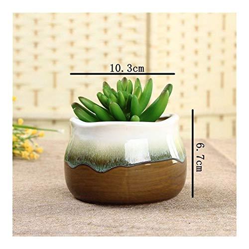 Creative Design Flow vasijas de cerámica de la Flor del Esmalte de Porcelana Planta suculenta Pot Bonsai Pots Inicio decoración de jardín Maceta (Color : Design G)