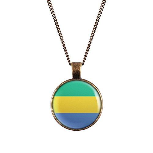 WeAreAwesome Gabun Flagge Halskette - Länderkette mit Fahne Anhänger Unisex Kette Afrika