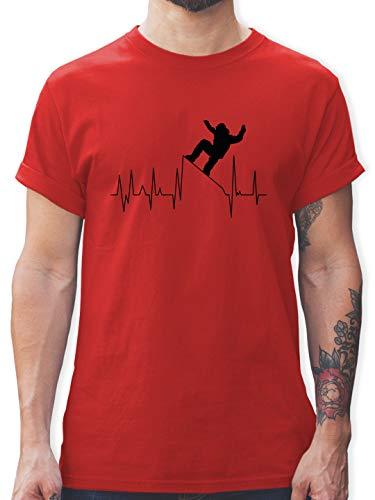 Après Ski - Snowboarding Herzschlag - schwarz - 3XL - Rot - Statement - L190 - Tshirt Herren und Männer T-Shirts