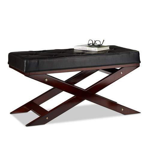 Relaxdays zitbank met kussen zonder leuning, van hout en kunstleer, tweezits, H x B x D 40 x 76 x 38, zwart