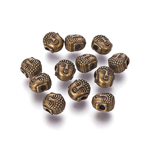 Craftdady 50pcs Antique Bronze Buddha Head Loose Beads 8x7mm Metal Spiritual Spacer Beads Charms for Jewelry Making Hole:1.5mm