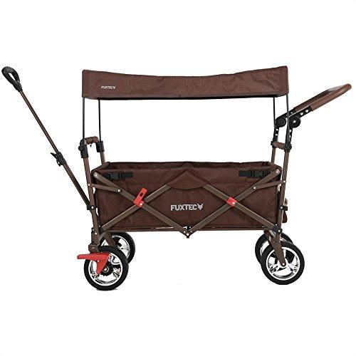 Fuxtec Faltbarer Bollerwagen FX-CT700 braun klappbar mit Dach, Vorder- und Hinterrad-Bremse, Vollgummi-Reifen, Schubbügel, für Kinder geeignet - Das Original !