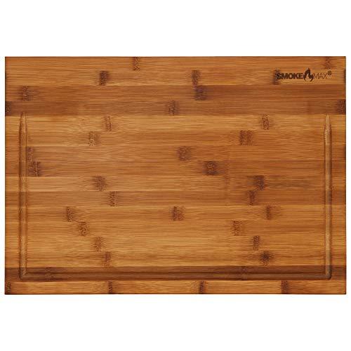 smokemax 2-1 großer massiver Holzblock Schneidebrett & Servierbrett in Einem Bambusblock (ca. 50 x 35 x 5 cm)